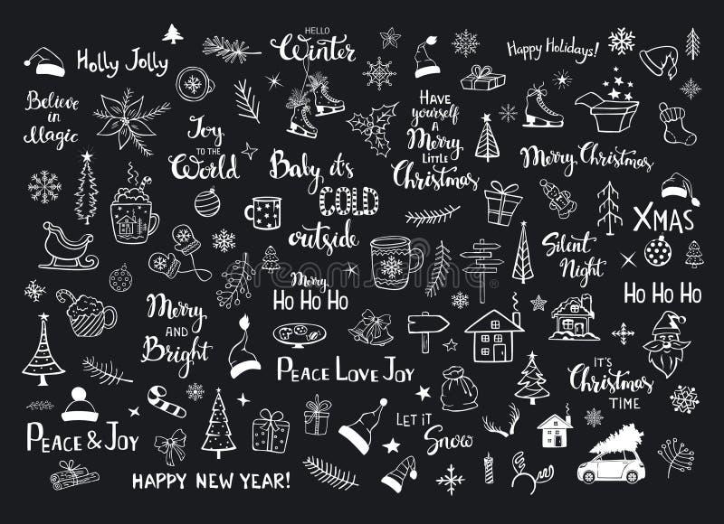 Inzameling van krabbels van de decoratiepunten van Kerstmis de nieuwe jaren, Kerstmisbomen, santahoeden, giftdoos, sneeuwvlokken, vector illustratie