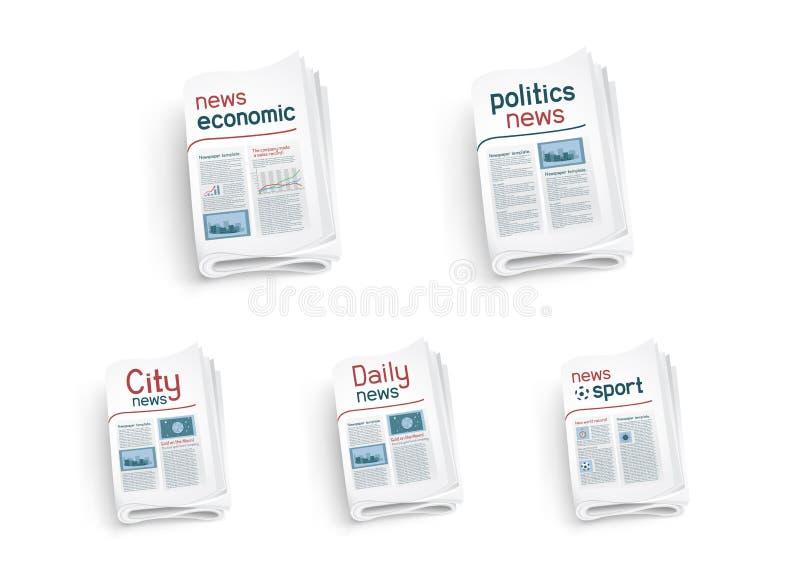 Inzameling van kranten vector illustratie
