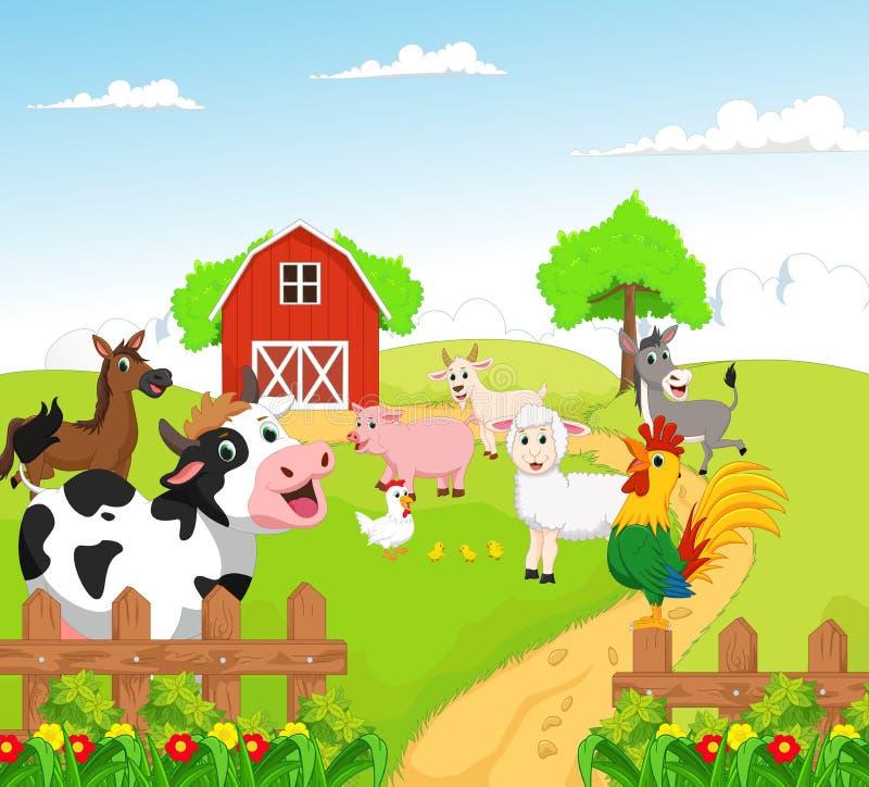 Inzameling van landbouwbedrijfdieren met achtergrond royalty-vrije illustratie