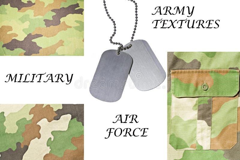 Inzameling van leger en militaire texturen met identiteitskaart-markering stock fotografie