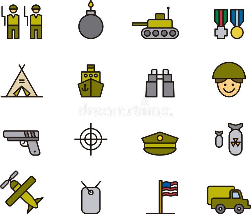Inzameling van legerpictogrammen stock illustratie