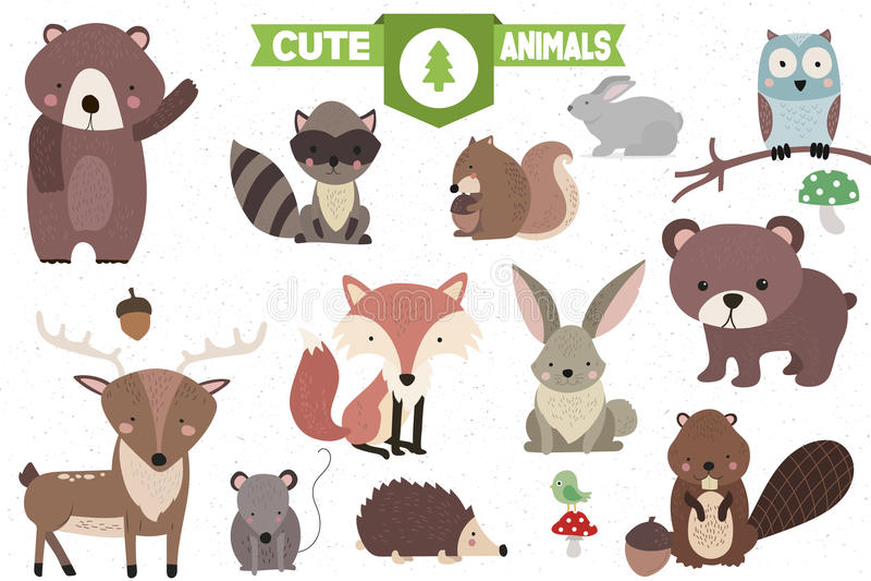 Inzameling van leuke bosdieren stock illustratie