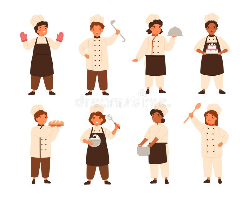 Inzameling van leuke glimlachende kinderenkoks of jonge geitjeschef-koks Bundel van jonge keukenarbeiders die en maaltijd, jongen vector illustratie