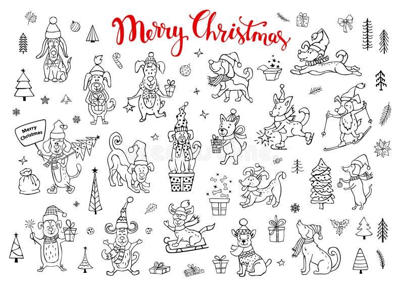 Inzameling van leuke grappige Kerstmis en gelukkig nieuw jaar 2018 die gelukwensend de krabbelhonden van de schetsstijl begroeten stock illustratie
