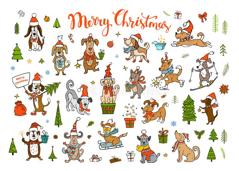 Inzameling van leuke grappige Kerstmis en gelukkig nieuw jaar 2018 die gelukwensend honden begroeten stock illustratie