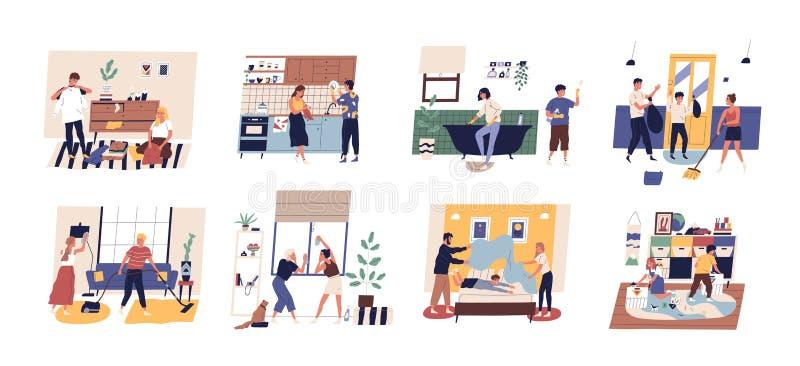 Inzameling van leuke grappige mensen die huishoudelijk werk doen Reeks mannen, vrouwen en kinderen die schotels wassen, die venst royalty-vrije illustratie