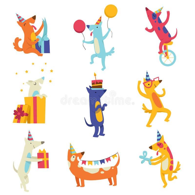 Inzameling van leuke honden in partijhoeden, grappige beeldverhaal dierlijke karakters die pret hebben bij de vectorillustratie v royalty-vrije illustratie