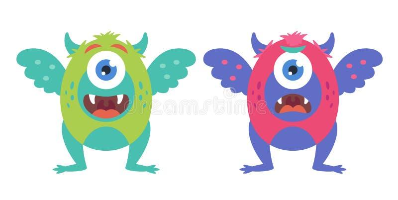 Inzameling van leuke monsters op een witte achtergrond kwaad en vriendelijk karakter vector illustratie