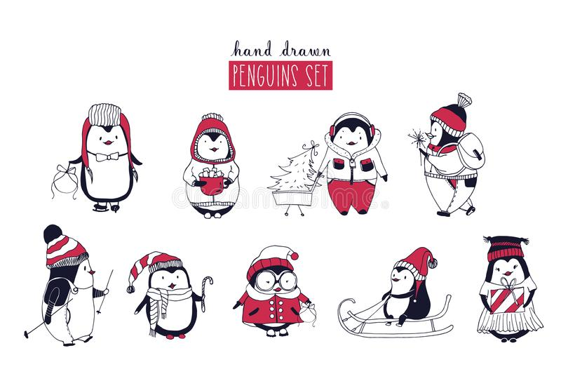 Inzameling van leuke pinguïnen verschillende die de winterkleding dragen en hoeden die op witte achtergrond worden geïsoleerd Ree royalty-vrije illustratie
