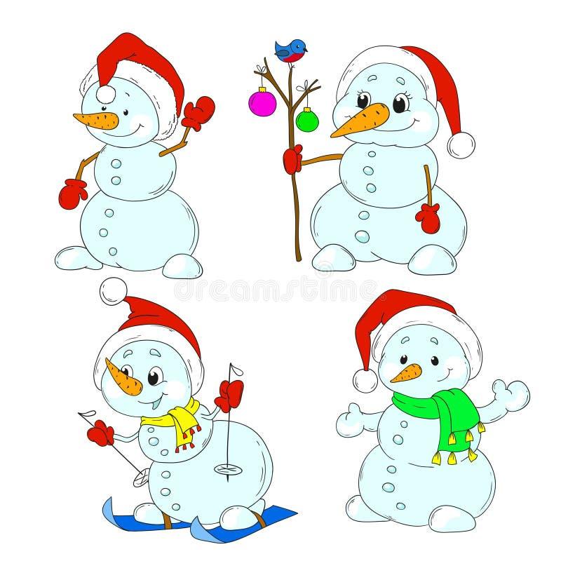 Inzameling van leuke sneeuwmannenkarakters Kerstmis, Nieuwjaar stock illustratie
