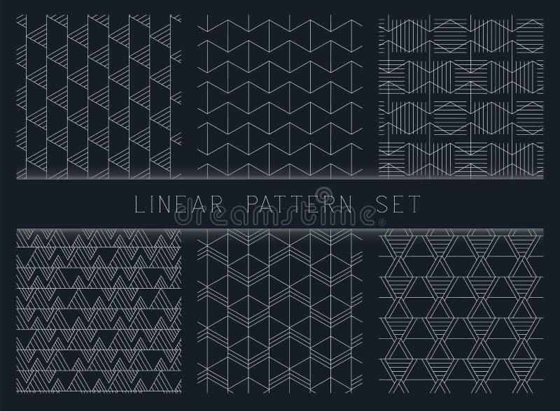 Inzameling van lineaire zwart-witte geometrische patroontexturen Reeks van 6 achtergronden Het naadloze zwart-wit herhalen stock illustratie