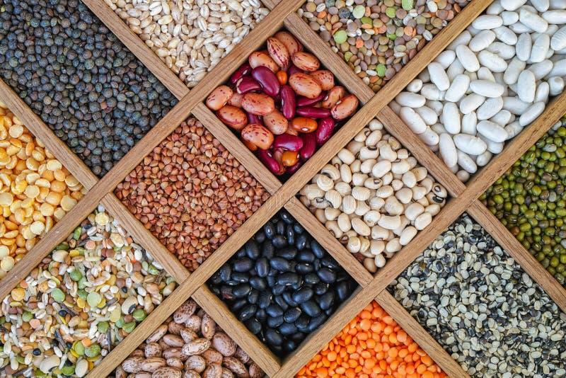 Inzameling van linzen, bonen, erwten, korrel, grutten wordt geassorteerd die, soyb stock fotografie