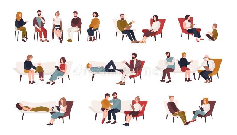 Inzameling van mannen en vrouwen of echtparen die op stoelen zitten of op bank liggen en aan psychotherapist spreken of stock illustratie