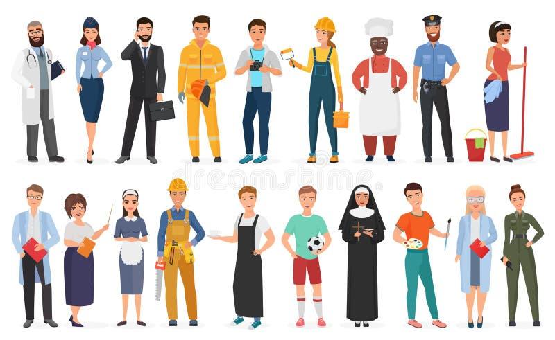 Inzameling van mannen en vrouwenmensenarbeiders van diverse verschillende beroepen of beroep die professionele eenvormig dragen vector illustratie