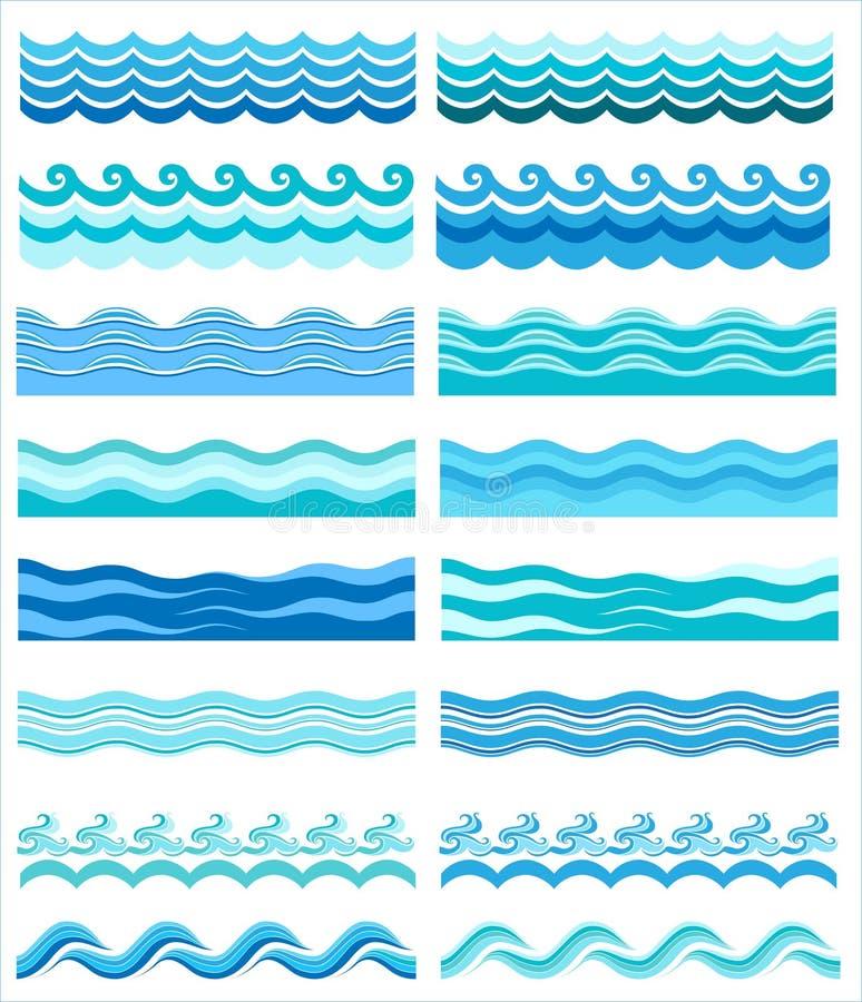 Inzameling van mariene golven, gestileerd ontwerp royalty-vrije illustratie