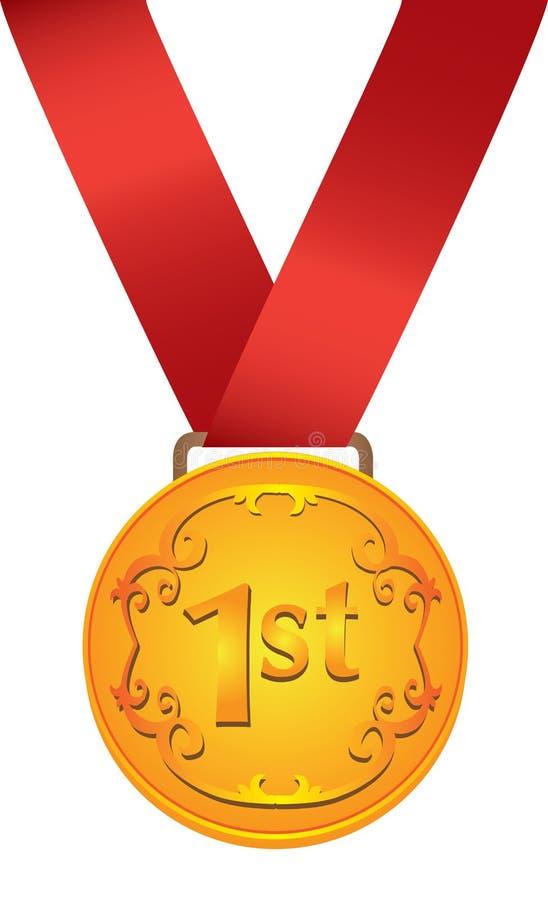 Inzameling van medailles in goud, zilver en brons. royalty-vrije illustratie