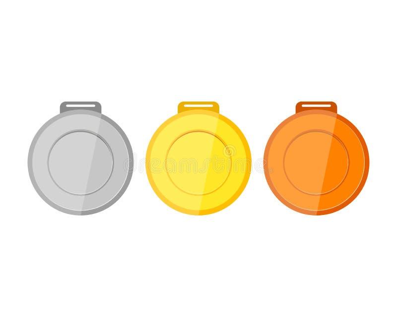 Inzameling van medailles voor de kampioenen stock illustratie