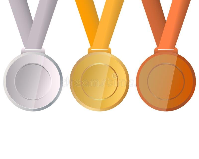 Inzameling van medailles voor de kampioenen vector illustratie