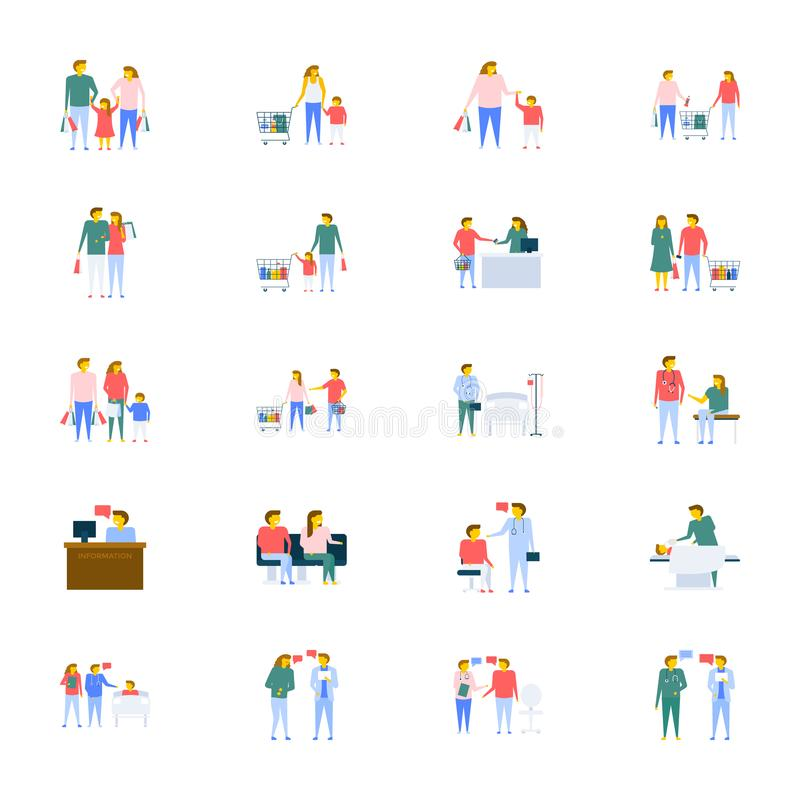 Inzameling van mensen de Vectorpictogrammen in Vlak Ontwerp vector illustratie