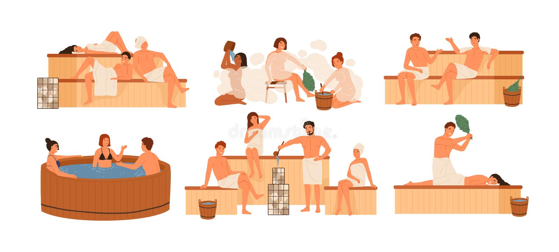 Inzameling van mensen die in sauna of banyahoogtepunt van stoom baden Reeks gelukkige mannen en vrouwen die bad, hun wassen nemen royalty-vrije illustratie