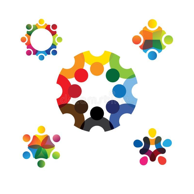 Inzameling van mensenpictogrammen in cirkel - vectorconceptenovereenkomst royalty-vrije illustratie