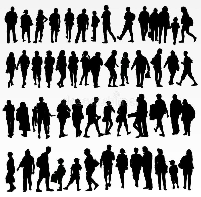 Inzameling van mensensilhouetten stock illustratie