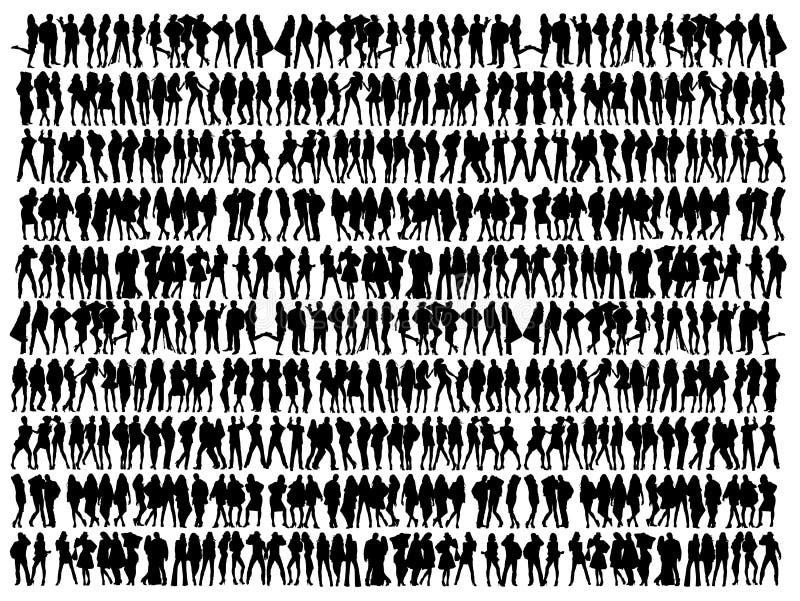 Inzameling van mensensilhouetten vector illustratie