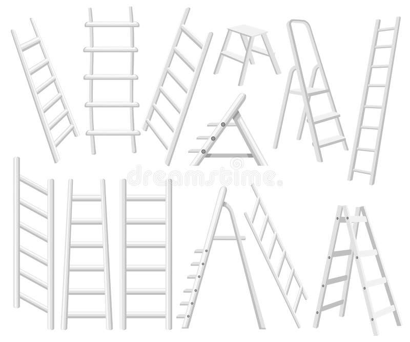 Inzameling van metaalladders Verschillende types van trapladders Vlakke VectordieIllustratie op Witte Achtergrond wordt geïsoleer royalty-vrije illustratie