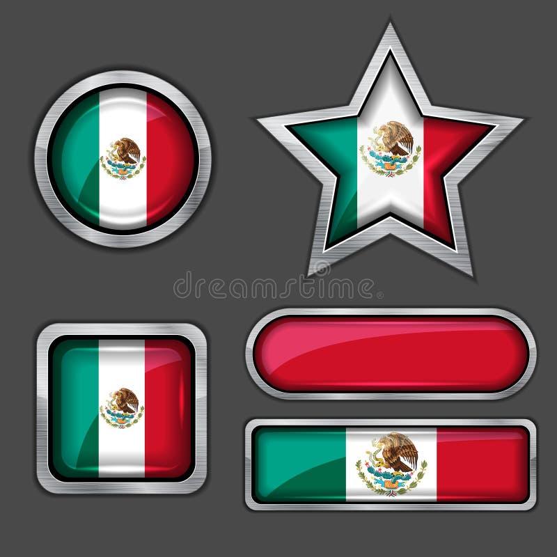 Inzameling van Mexicaanse vlagpictogrammen stock illustratie