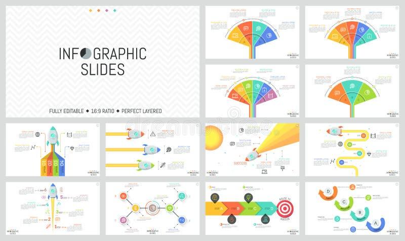Inzameling van minimale infographic ontwerpmalplaatjes Werkschema en ventilatorgrafieken, diagrammen met vliegende ruimteraketten stock illustratie