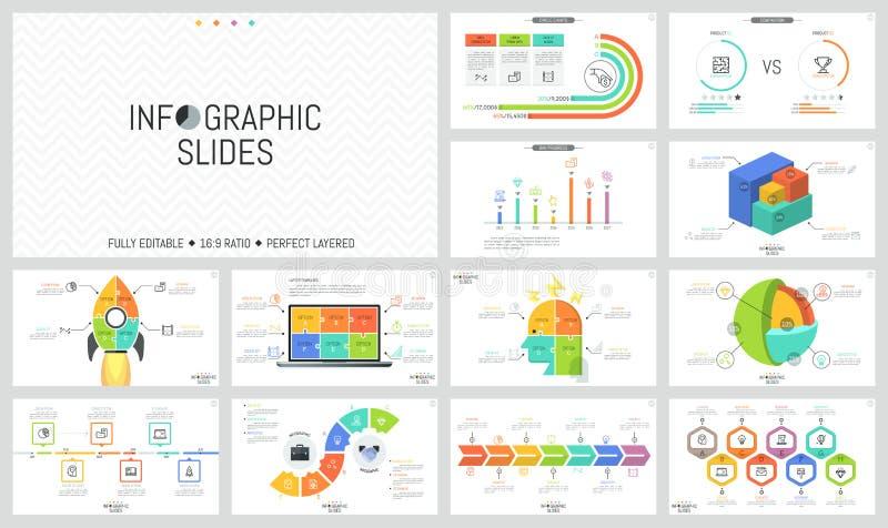 Inzameling van minimalistische infographic ontwerpmalplaatjes Chronologie, grafieken, vergelijking, schema en puzzel stock illustratie