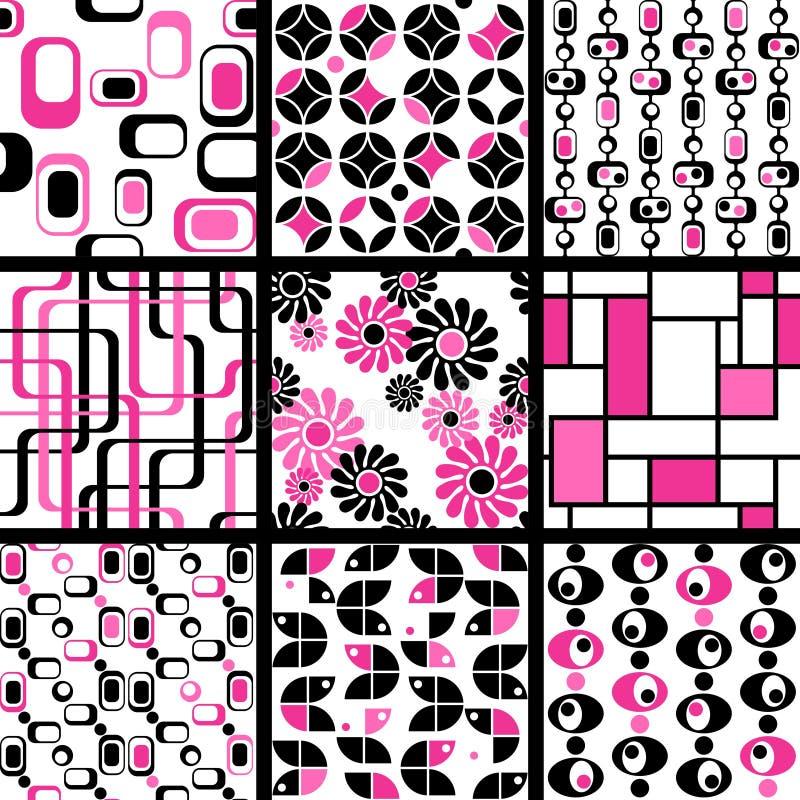 Inzameling van mod. naadloze patronen in roze royalty-vrije illustratie