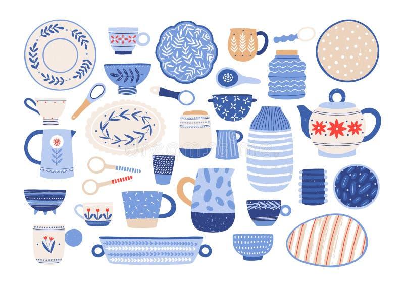 Inzameling van modern ceramisch keukengerei of aardewerk - koppen, schotels, kommen, waterkruiken Reeks van decoratief vaatwerk vector illustratie