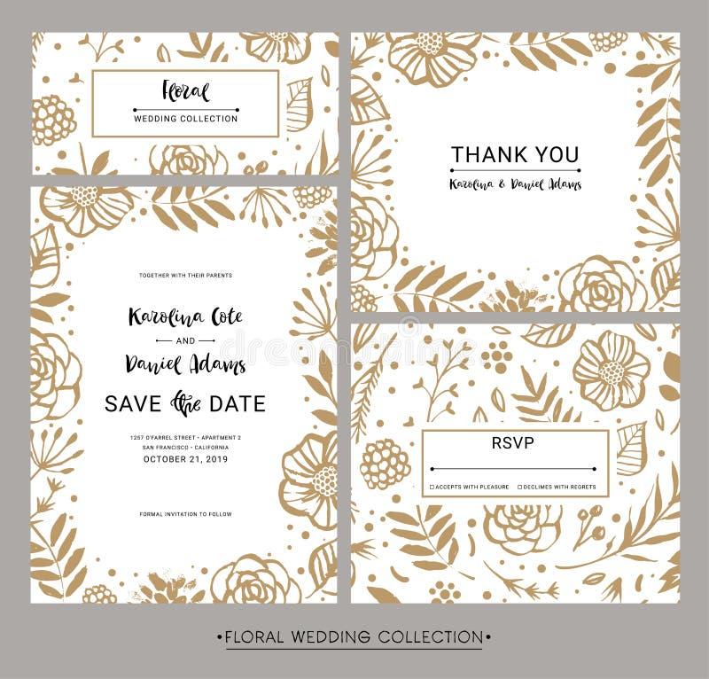 Inzameling van moderne de uitnodigingskaarten van het ontwerphuwelijk Sparen D vector illustratie