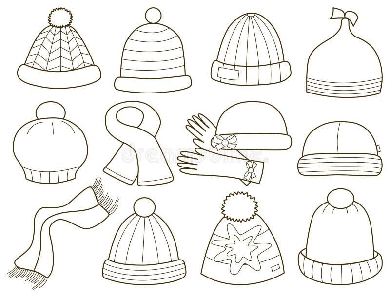 Download Inzameling Van Modieuze Kappen Vector Illustratie - Illustratie bestaande uit geïsoleerd, mitten: 39103502