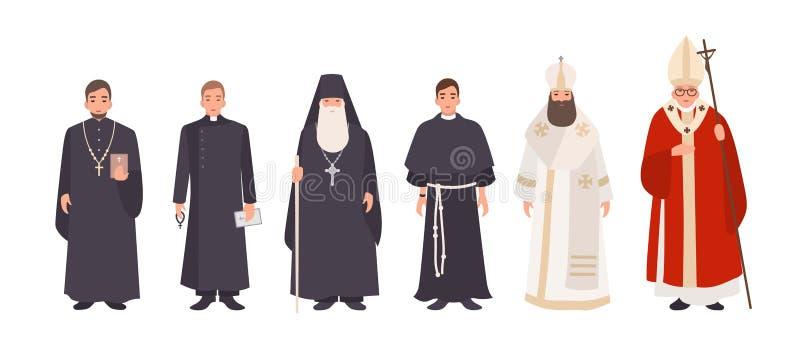 Inzameling van monniken, priesters en godsdienstige leiders van Katholieke en Orthodoxe christelijke kerken Bundel van geestelijk stock illustratie