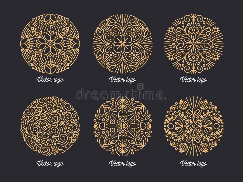 Inzameling van mooie ronde die ornamenten met contourlijnen worden getrokken Bundel van cirkel overladen bloemen decoratief ontwe stock illustratie