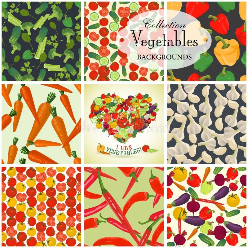 Inzameling van naadloos achtergronden en hart op het onderwerp van veg stock illustratie