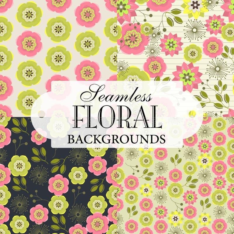 Inzameling van naadloze achtergronden op het onderwerp van bloemengeklets stock illustratie
