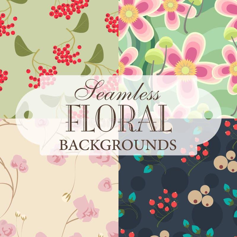 Inzameling van naadloze achtergronden op het onderwerp van bloemengeklets royalty-vrije illustratie