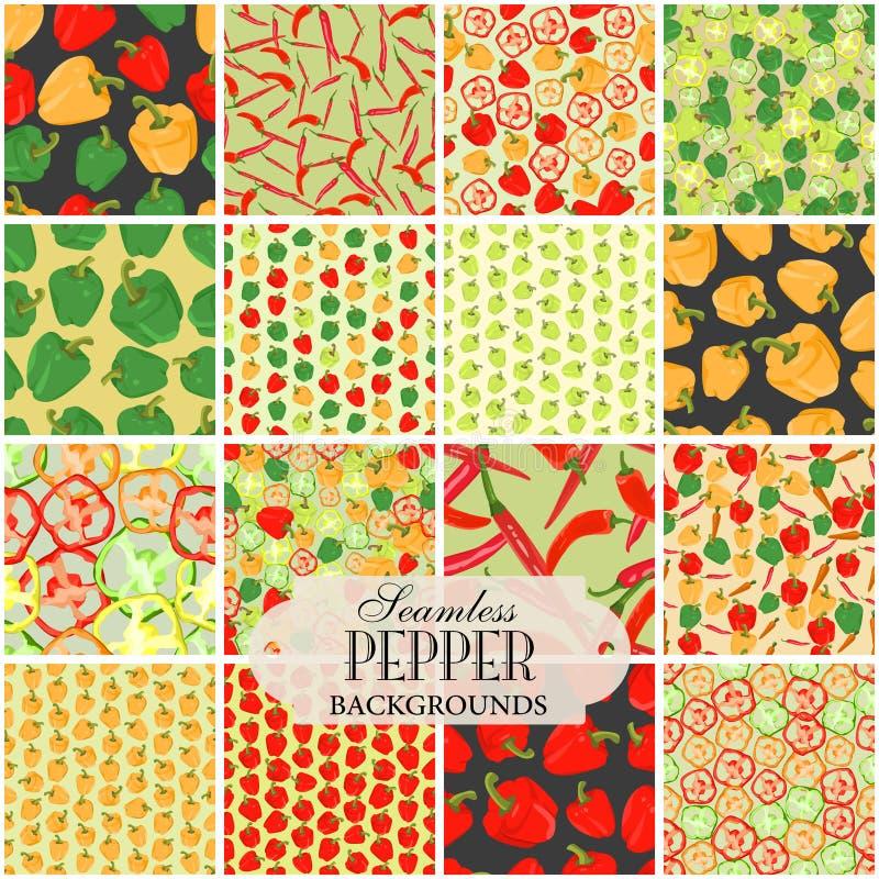 Inzameling van naadloze achtergronden op het onderwerp van peper stock illustratie