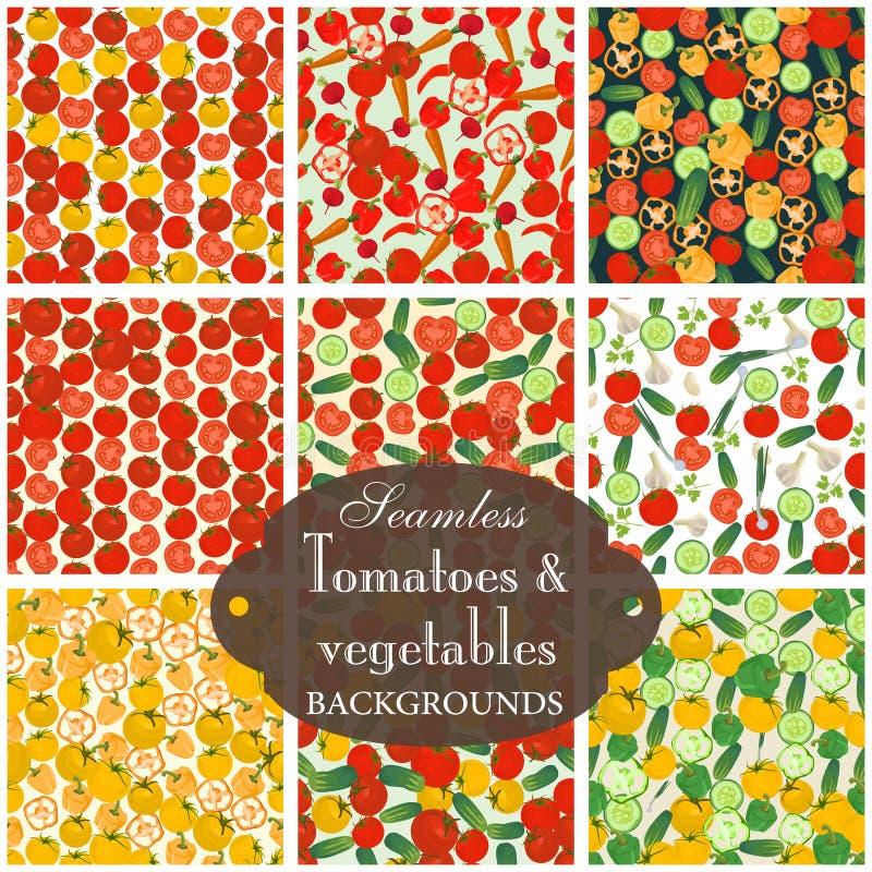Inzameling van naadloze achtergronden op het onderwerp van tomaat met v royalty-vrije illustratie