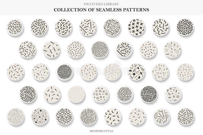 Inzameling van naadloze in patronen De stijl van Memphis - manier 80-jaren '90 Vector herhaalbare achtergronden royalty-vrije illustratie