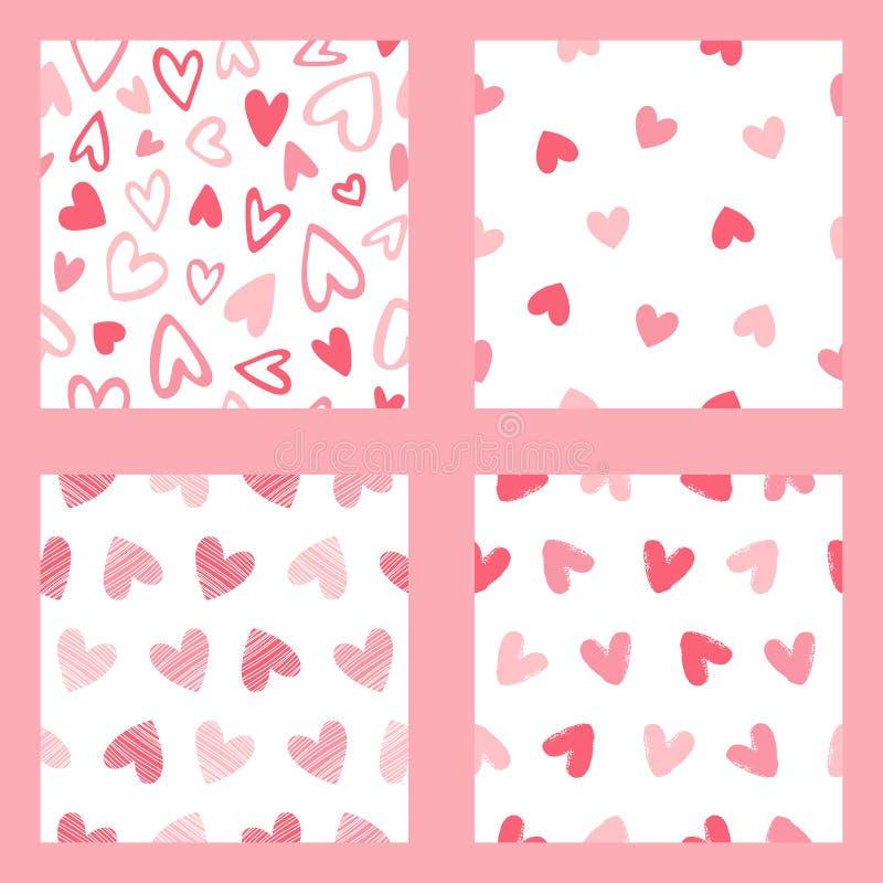 Inzameling van naadloze patronen met diverse harten stock illustratie