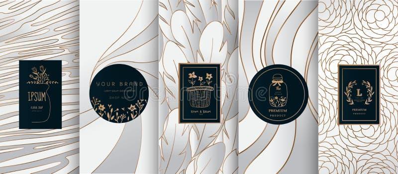 Inzameling van ontwerpelementen, etiketten, pictogram, kaders, voor embleem, verpakking, ontwerp van luxeproducten voor parfum, z stock illustratie