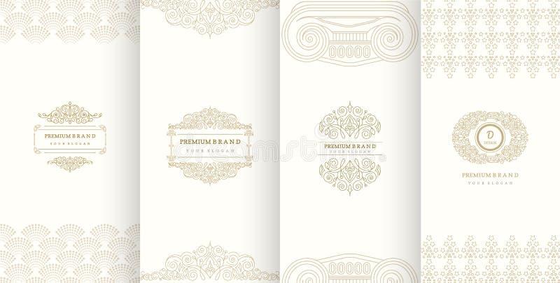 Inzameling van ontwerpelementen, etiketten, pictogram, kaders, voor verpakking stock illustratie