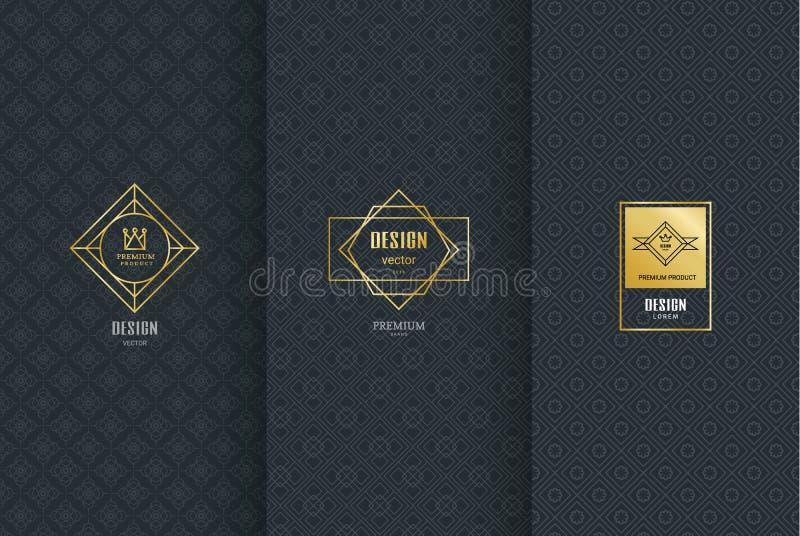 Inzameling van ontwerpelementen, etiketten, pictogram, kaders, voor verpakking, vector illustratie
