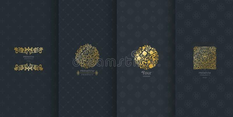Inzameling van ontwerpelementen, etiketten, pictogram, kaders, voor verpakking, stock illustratie
