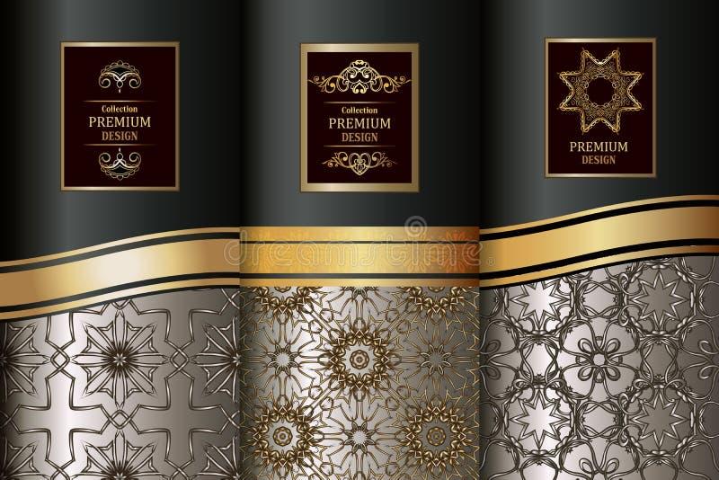 Inzameling van ontwerpelementen, etiketten, pictogram, kaders, voor verpakking, luxeachtergrond Gouden uitstekende ontwerpelement royalty-vrije illustratie