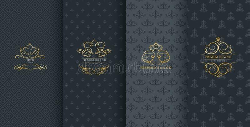Inzameling van ontwerpelementen, etiketten, pictogram, kaders, voor verpakking, ontwerp van luxeproducten, op zwarte achtergrond  royalty-vrije illustratie
